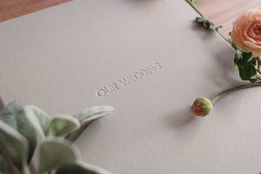 Wedding photography album with rose by Hanne Brooks Photography
