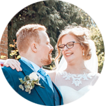 Married couple look lovingly at each other by Hanne Brooks Photography
